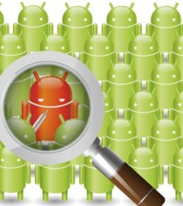 magnifying glass scanning android for a infected one